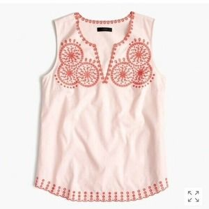 J Crew Embroidered Circles Blouse Sleeveless Top 4